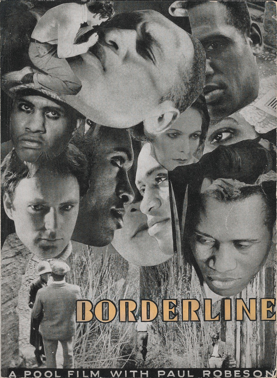 Movie Poster for film Borderline. Photo-collage of actors in the film. Yellow text reads Borderline