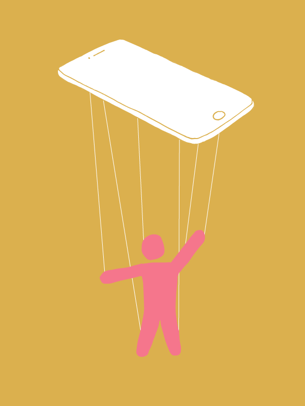 Illustration of a person attached to a cell phone like a marionette