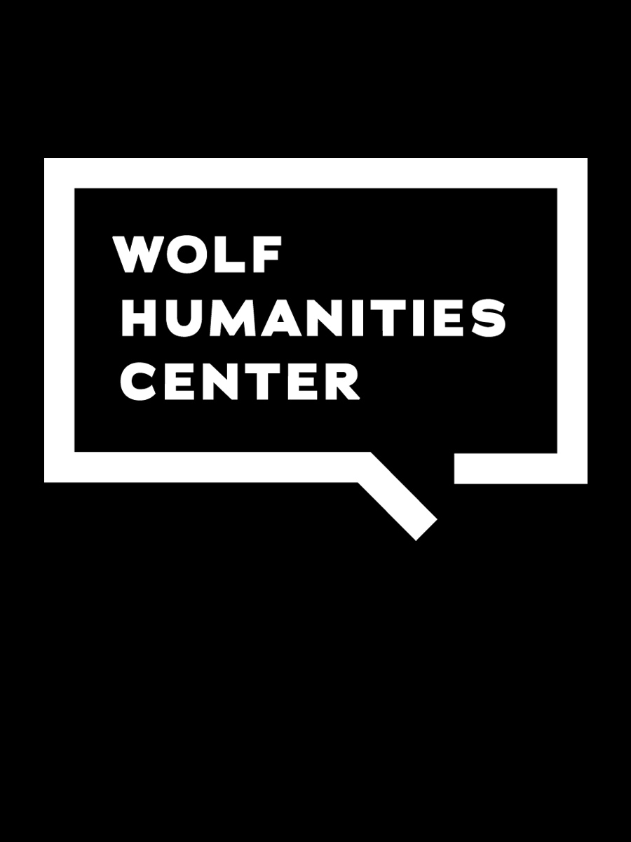 Wolf Humanities Center white logo on flat black background