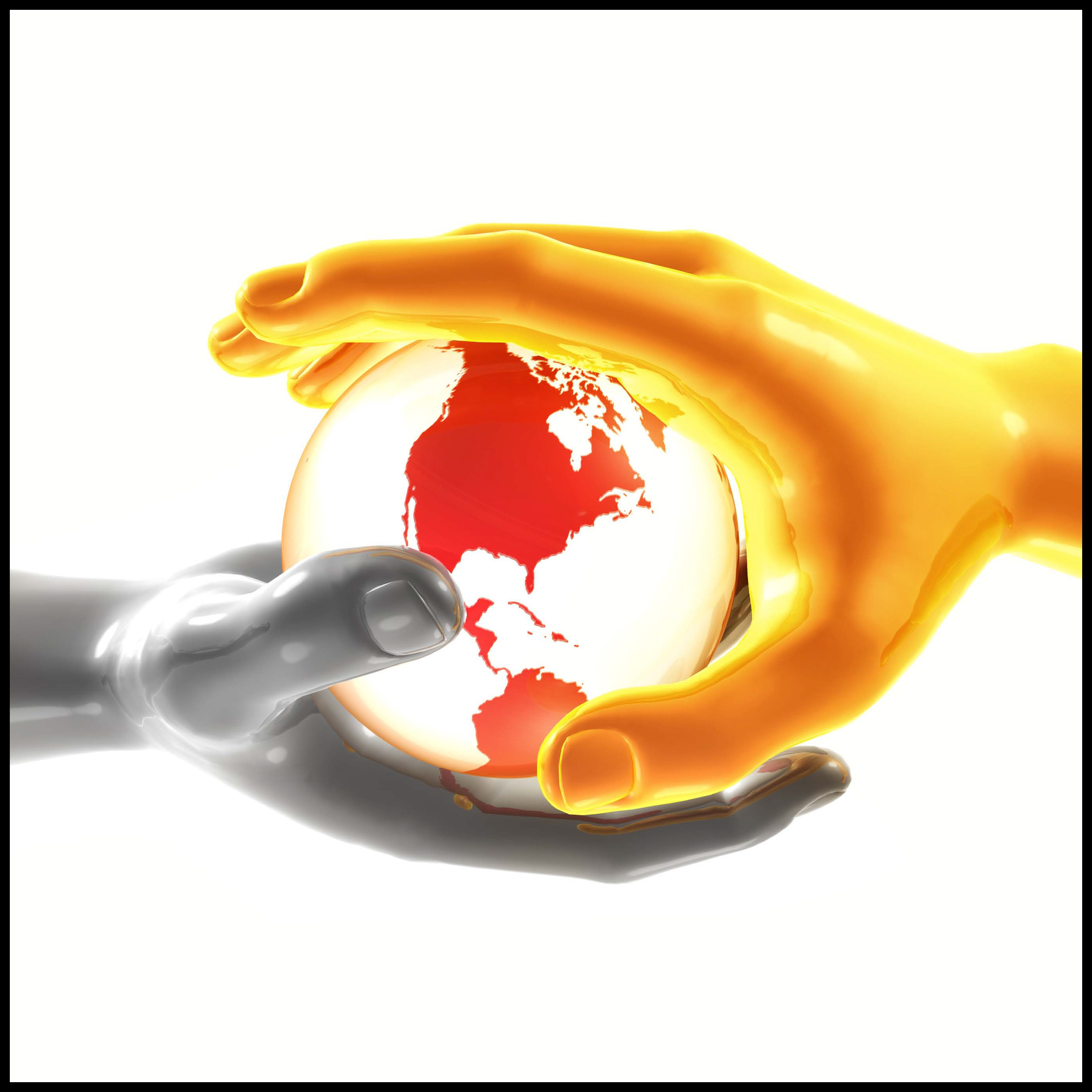 A Photo of two hands circling the world