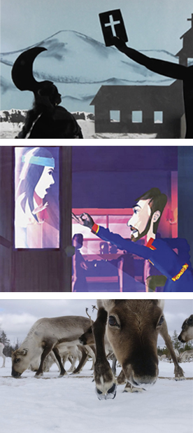 Three image details from Sami films: Top: Wake Up Elena Wake Up; Middle: Rebel ; Bottom: Eat, Sleep, Feed, Repeat