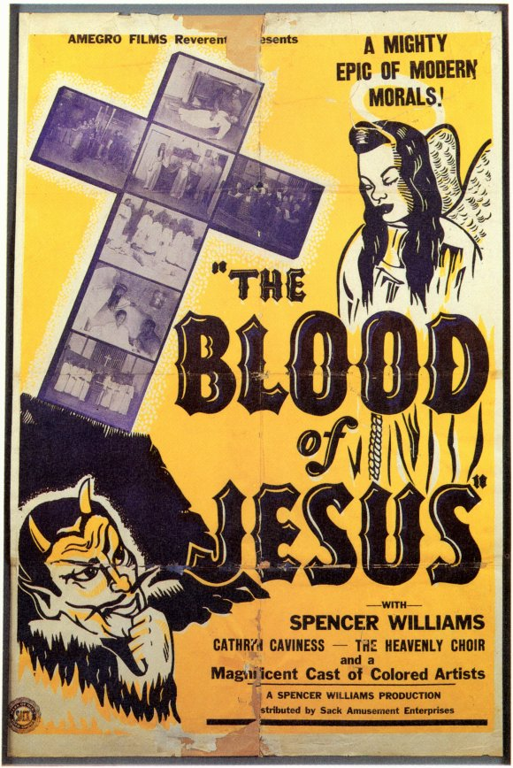 """The Blood of Jesus Movie poster with an illustration of a cross, an angel, and a devil. Black text on yellow background reads """"The Blood of Jesus"""""""