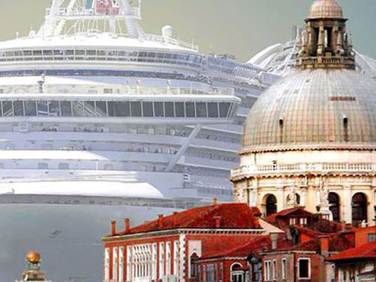 Film still from The Venice Syndrome image of an antiquated, domed building with a cruise ship behind it