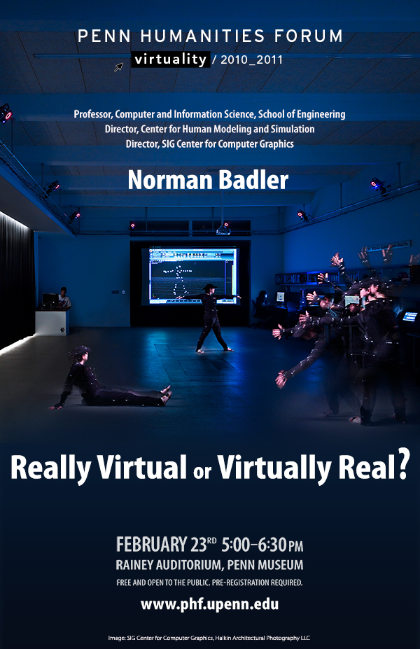 """Dark blue background with White Woman with virtual reality point suit on, Text """"Real virtual or virtually real"""""""