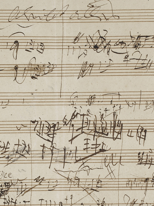 Beethoven's sketches of musical notation on lined paper