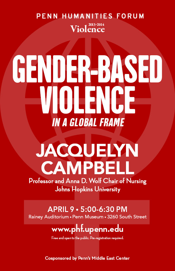 poster for event with Jacquelyn Campbell on Gender Based Violence In a Global Frame. Red background with light pink female symbol