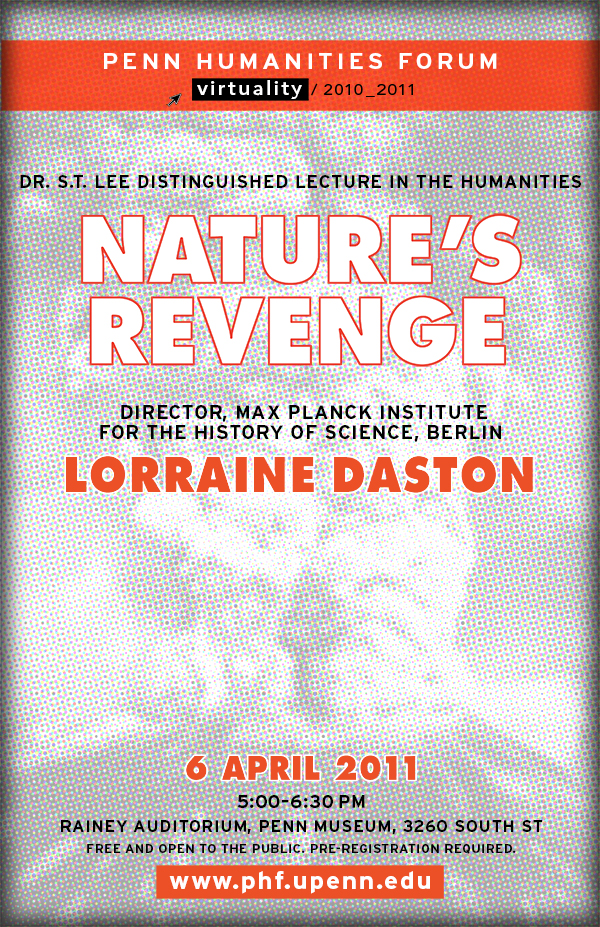 "Black and white textured image of volcano erupting, with red text overlayed ""Nature's Revenge"""