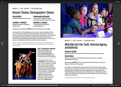 Spread from Wolf Humanities Center's Forum on Choice event program