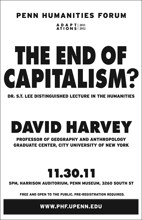 Poster for the End of Capitalism; black text on a white background