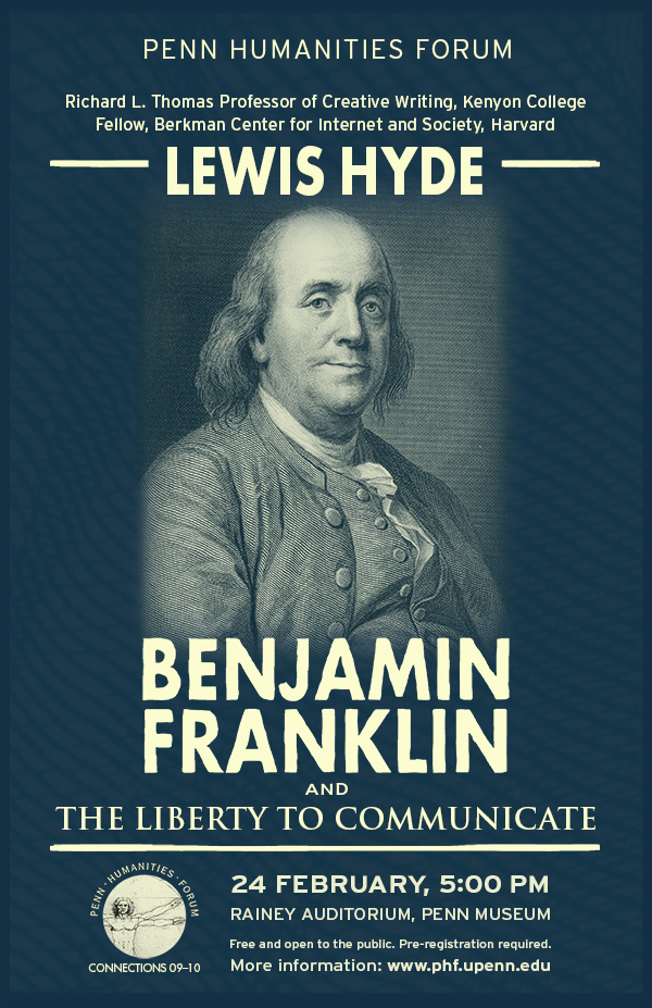 Poster for event, photo of Benjamin Franklin