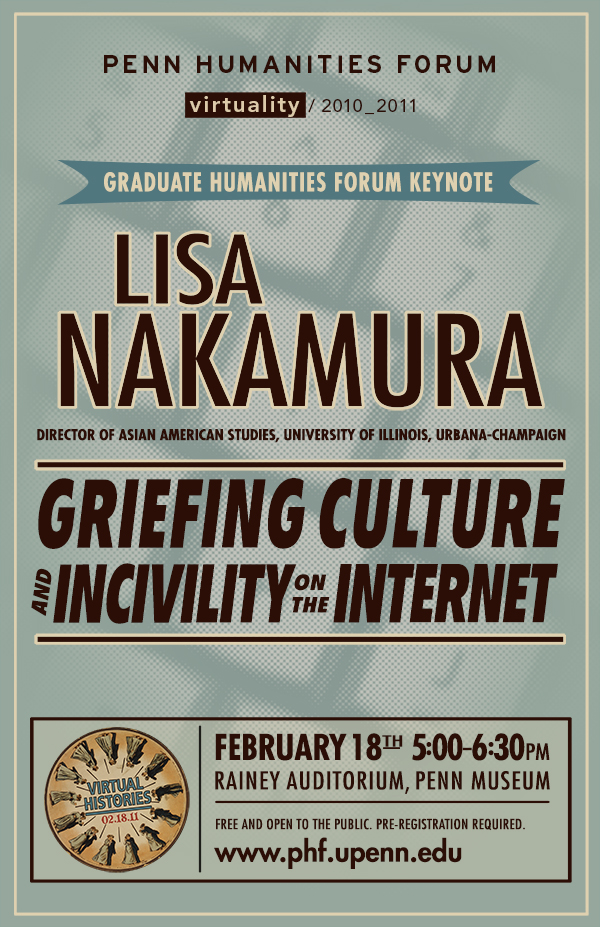 "Light blue textured background, dark red text ""Lisa Nakamura, Griefing Culture and Incivility on the Internet"""