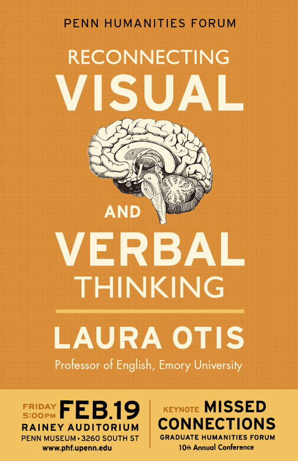 poster for event with Laura Otis, a drawn brain on an orange background with White lettering