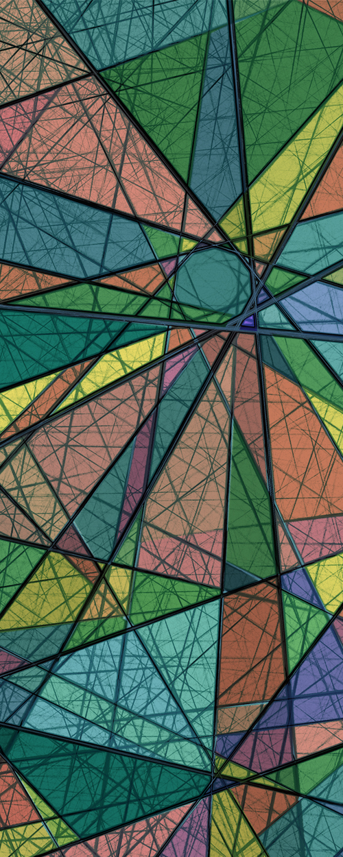 Abstract lines with colorful blocks