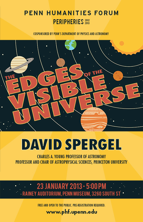 """""""The Edges of the Visible Universe with Professor David Spergel"""" Text over Picture of Universe"""