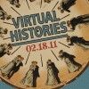 """An old time clock with cartoon of couple dancing at every number, Text """"Virtual Histories"""""""