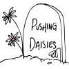 Illustration of a gravestone with text that reads Pushing Daisies