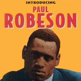 Poster of Body and Soul with image of actor Paul Robeson. Red text on Yellow background reads Introducing Paul Robeson in Oscar Micheaux's Production of Body and Soul