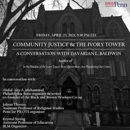 Poster for Community Justice and the Ivory Tower