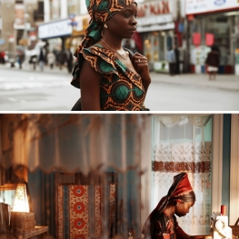 Young Nigerian Women Crossing Street and Sewing