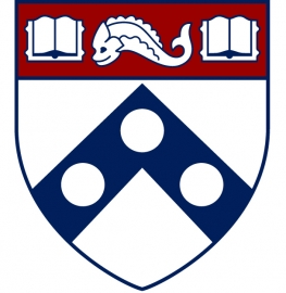 Penn shield in three colors, burgundy, navy blue, and white