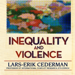 Cream colored background with image of pixelated world map. Orange and blue font reading Inequality and Violence, Lars-Erik Cederman