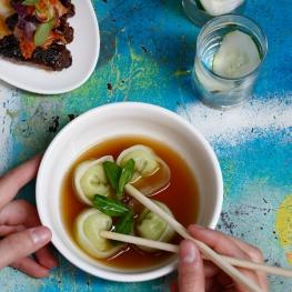 Dumplings in Soup with Chopsticks, Culinary Art