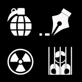 White icons of hand grenade, pen nib, radioactive sign, person behind bars