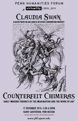 """Purple background with picture of 16th century folk imagery; Text """"Counterfeit Chimeras"""""""