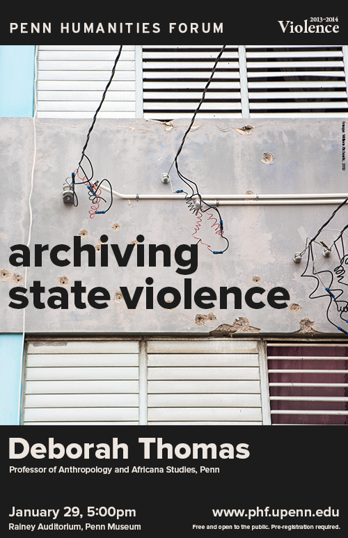 Close up photo of a building. Grey text reading Archiving State Violence.